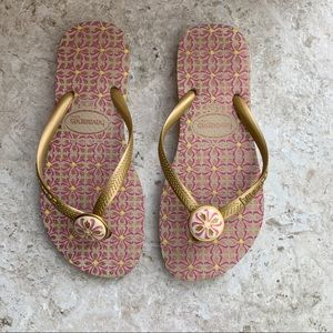 Havaianas Pink and Gold Flip Flops